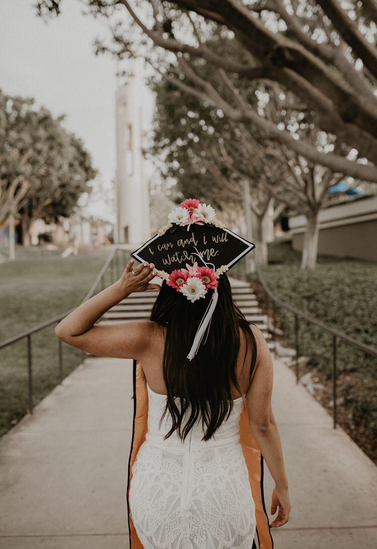 Floral Graduation Cap Decor College Grad Photoshoot At Cal State
