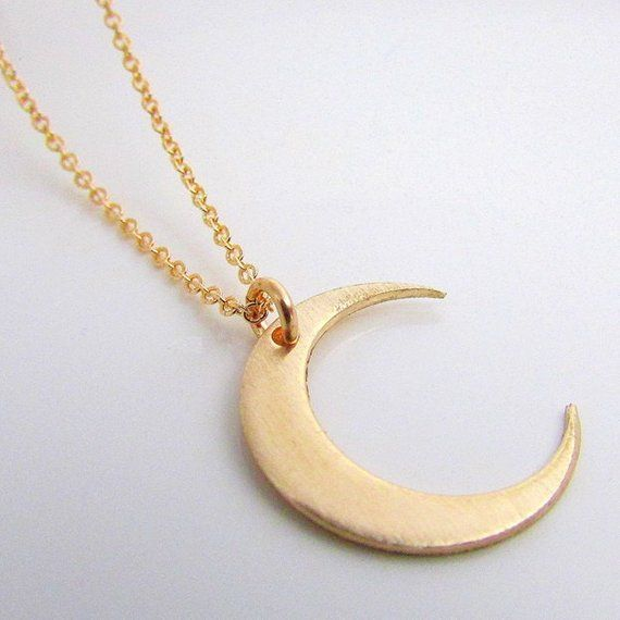 9b94241a4fffe Moon Necklace | Gold Crescent Moon Charm | 14K Gold Filled Pendant ...