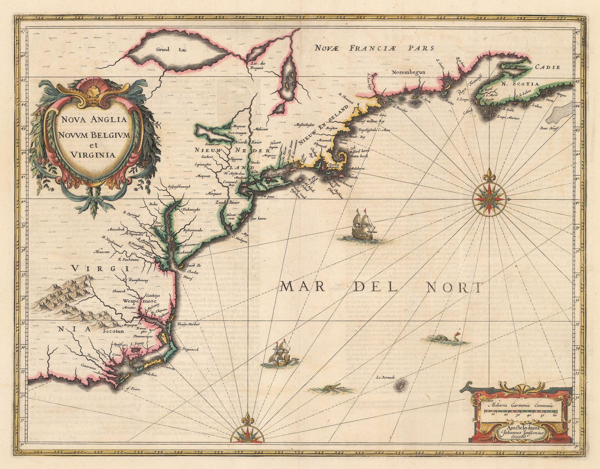 1636 Nova Anglia Novum Belgium et Virginia cartes