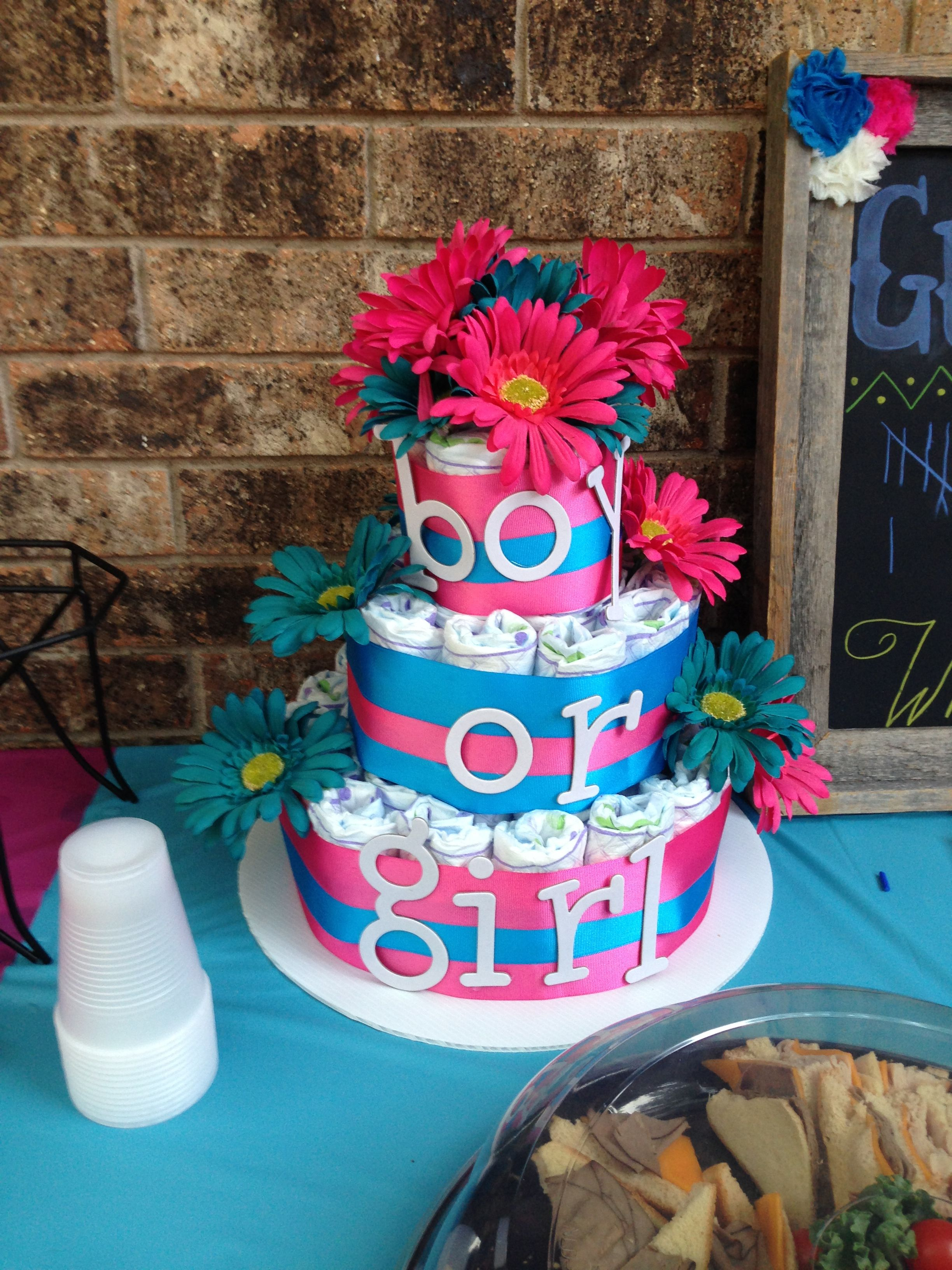 Gender reveal diaper cake Gender reveal Pinterest