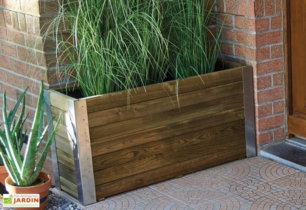 Jardiniere En Bois Autoclave Et Alu 100 X 30 Cm Bambou Autoclave Autoclave 30 In 2020 Hochbeet