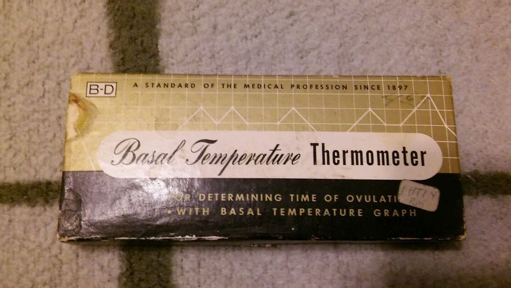 Vintage B-D Basal Thermometer W/ Box Case Graph Instructions  -- Ovulation