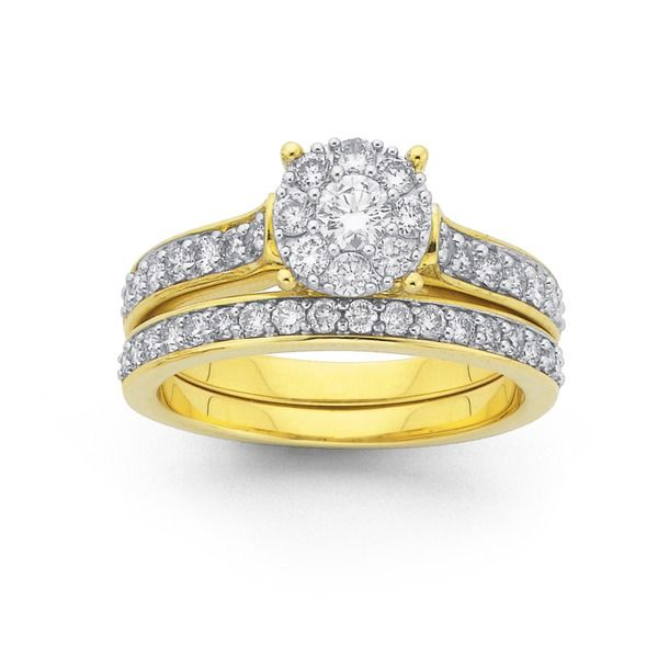 9ct Gold Diamond Bridal Ring Set Sparkly Things