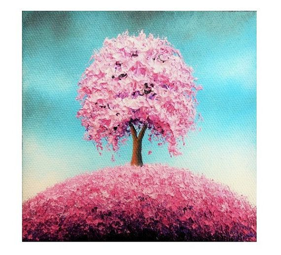 Print Of Pink Tree Painting Photo Print Of Cherry Blossom Tree Art Colorful Art Contemporary Art Poster Cottage Chic Pre Tree Art Tree Painting Colorful Art