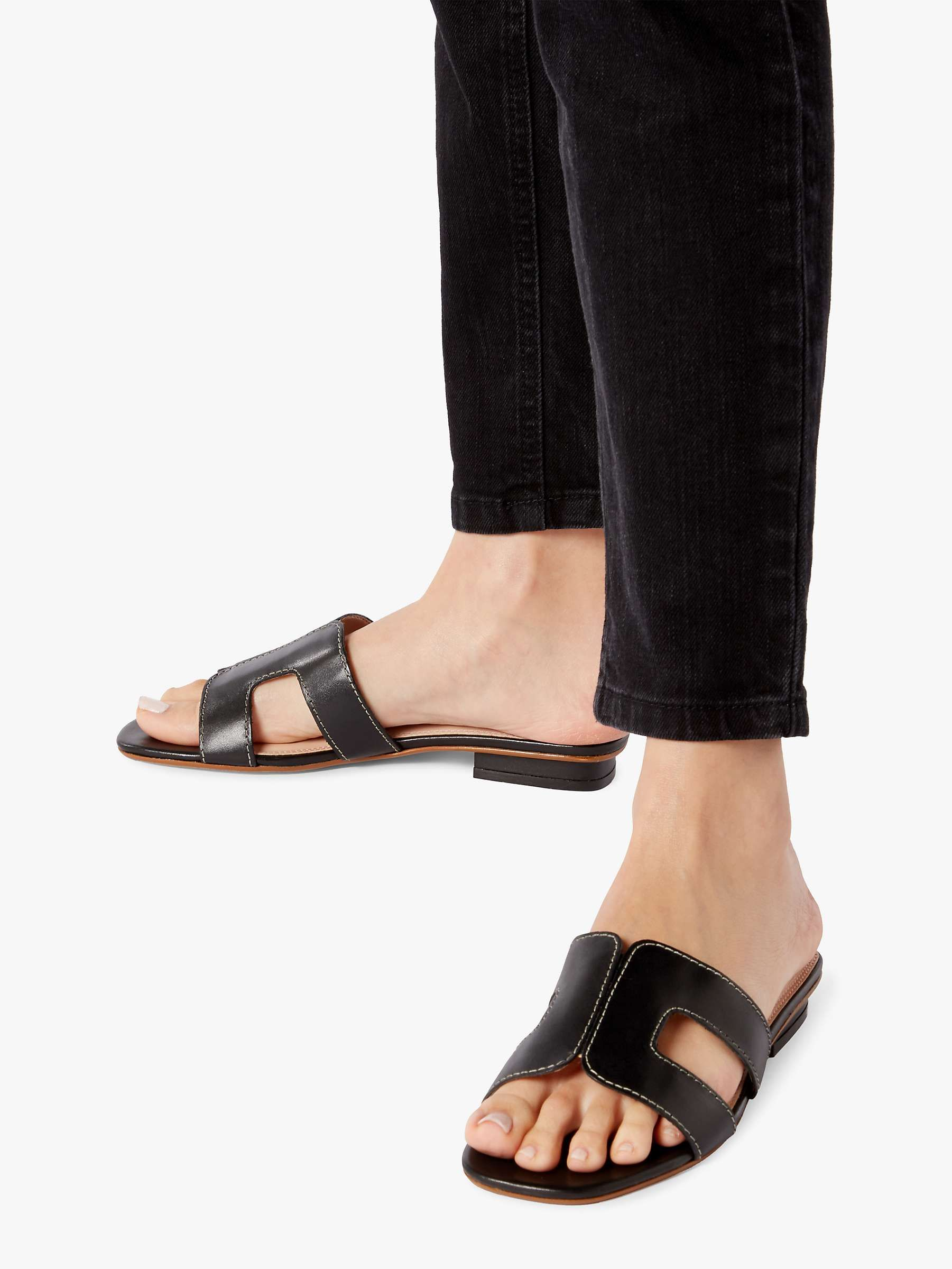 Dune Loupe Flat Slider Sandals, Gold in