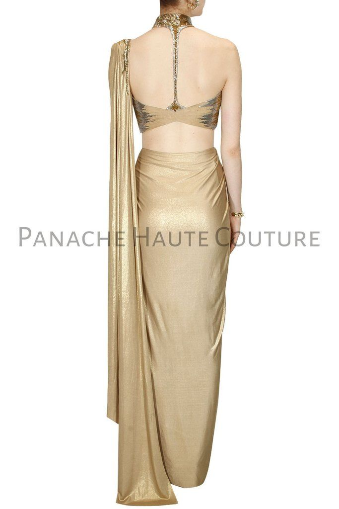 Golden Color designer Saree Gown With Hand Embroidered Blouse in ...