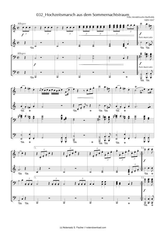 Hochzeitsmarsch Aus Dem Sommernachtstraum Klavier Vierhandig Felix Mendelssohn Bartholdy 1809 1847 Sommernachtstraum Hochzeitsmarsch Klavier Lernen