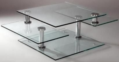 Square Base Motion Cocktail Table With Three Tier Glass Tops Set - Glass tops for bedroom furniture