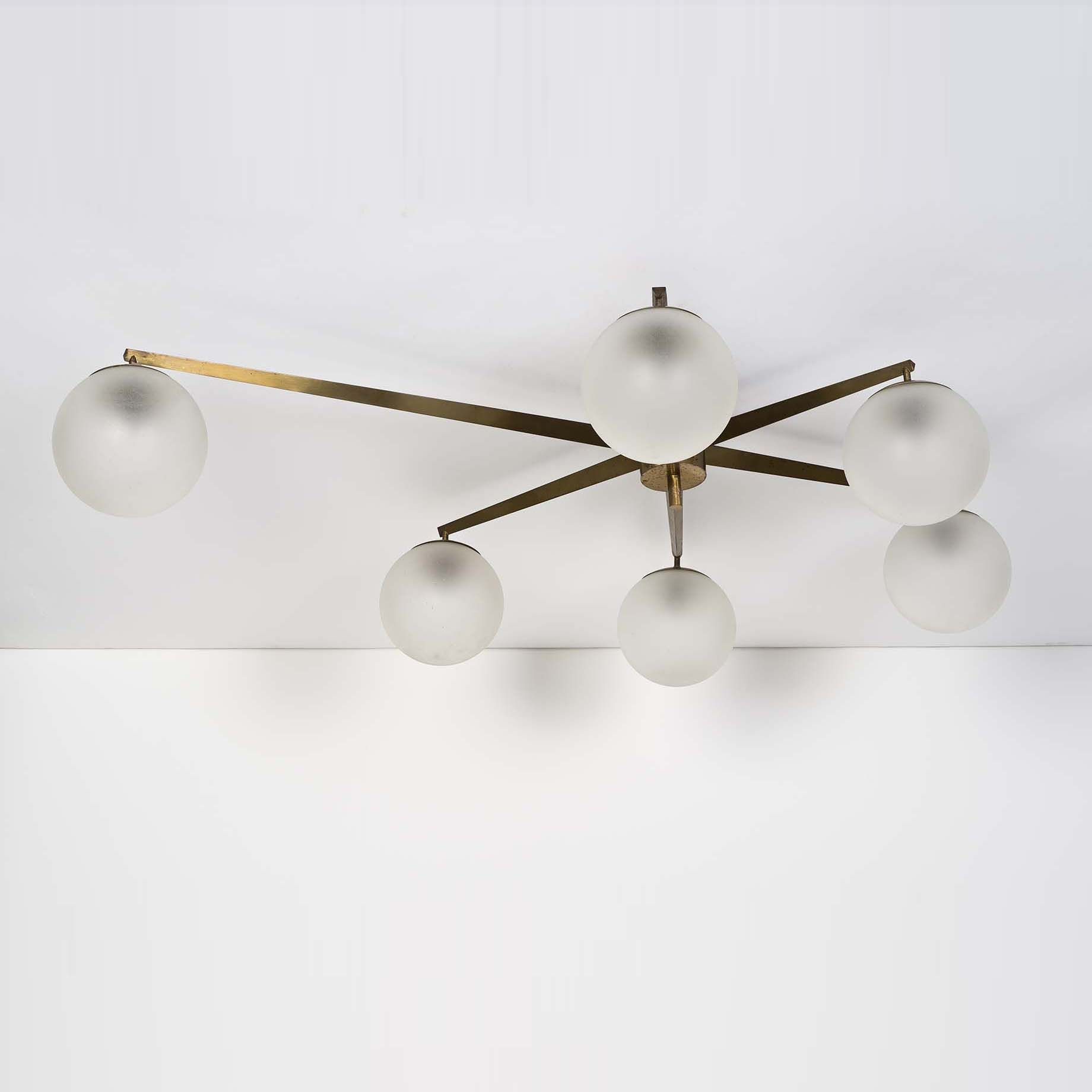 Angelo Lelli Brass and Opaline Ceiling Light for Arredoluce 1958
