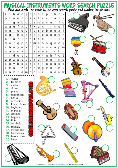 Musical Instruments ESL Word Search Puzzle Worksheet