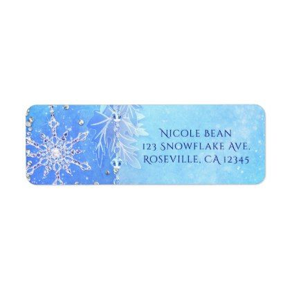 blue winter leaves snowflakes party invitation label
