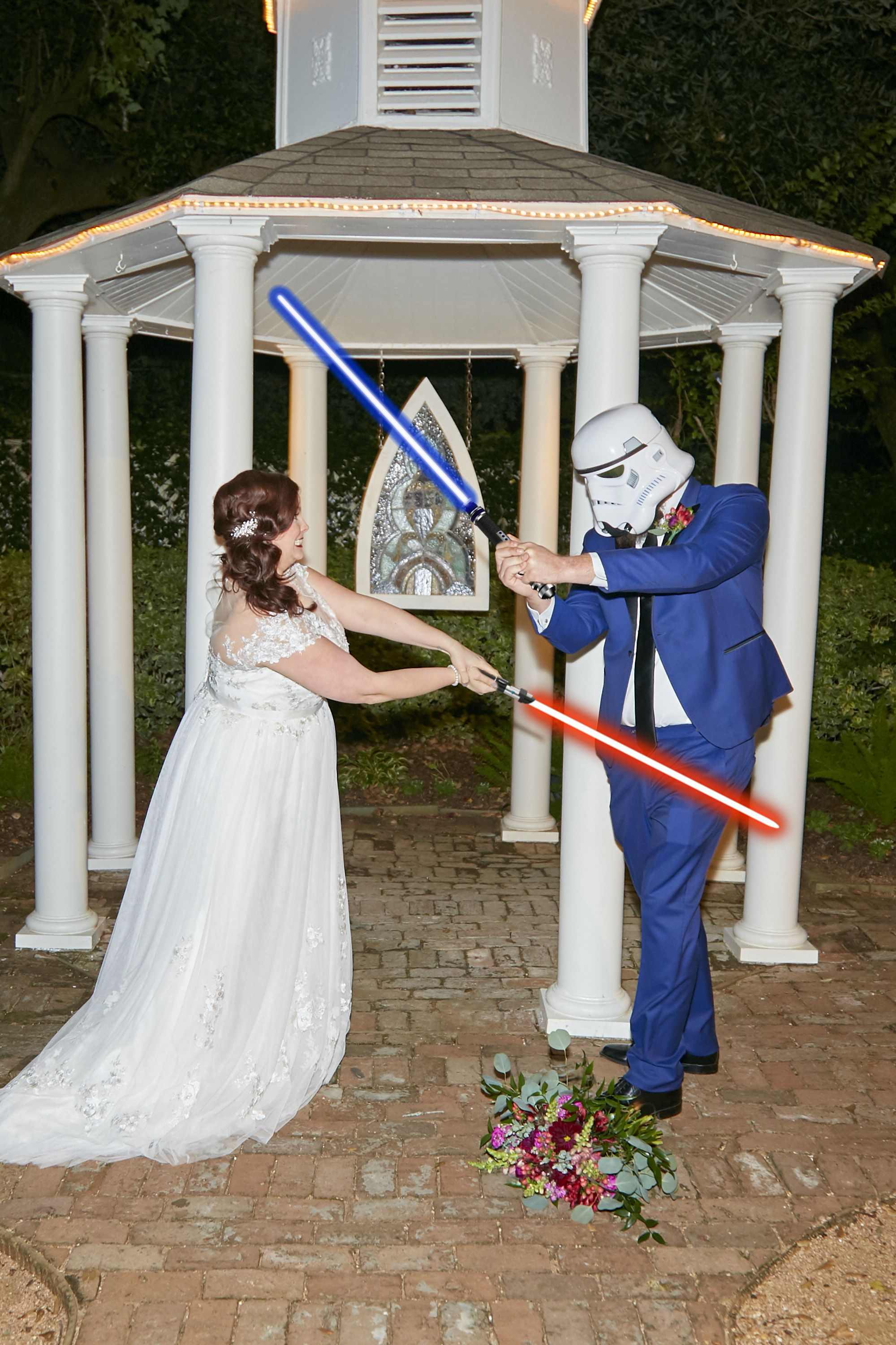 Star Wars Wedding Light Sabers and Storm Trooper for the win