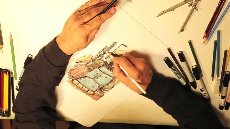 Fett... Boba Fett (Joe Johnston Time-lapse Drawing of Boba ...Boba Fett Drawing Tutorial