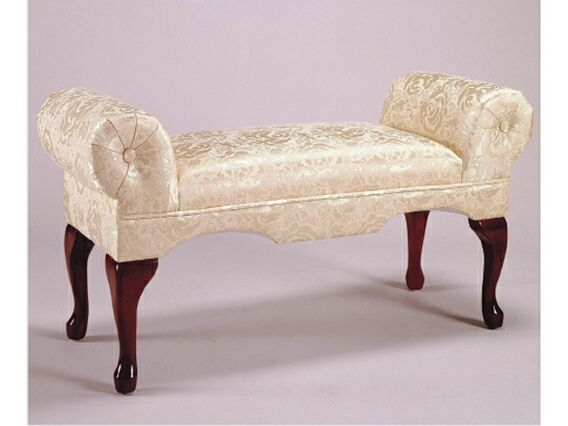 rolled arm victorian style bedroom bench with ivory damask pattern