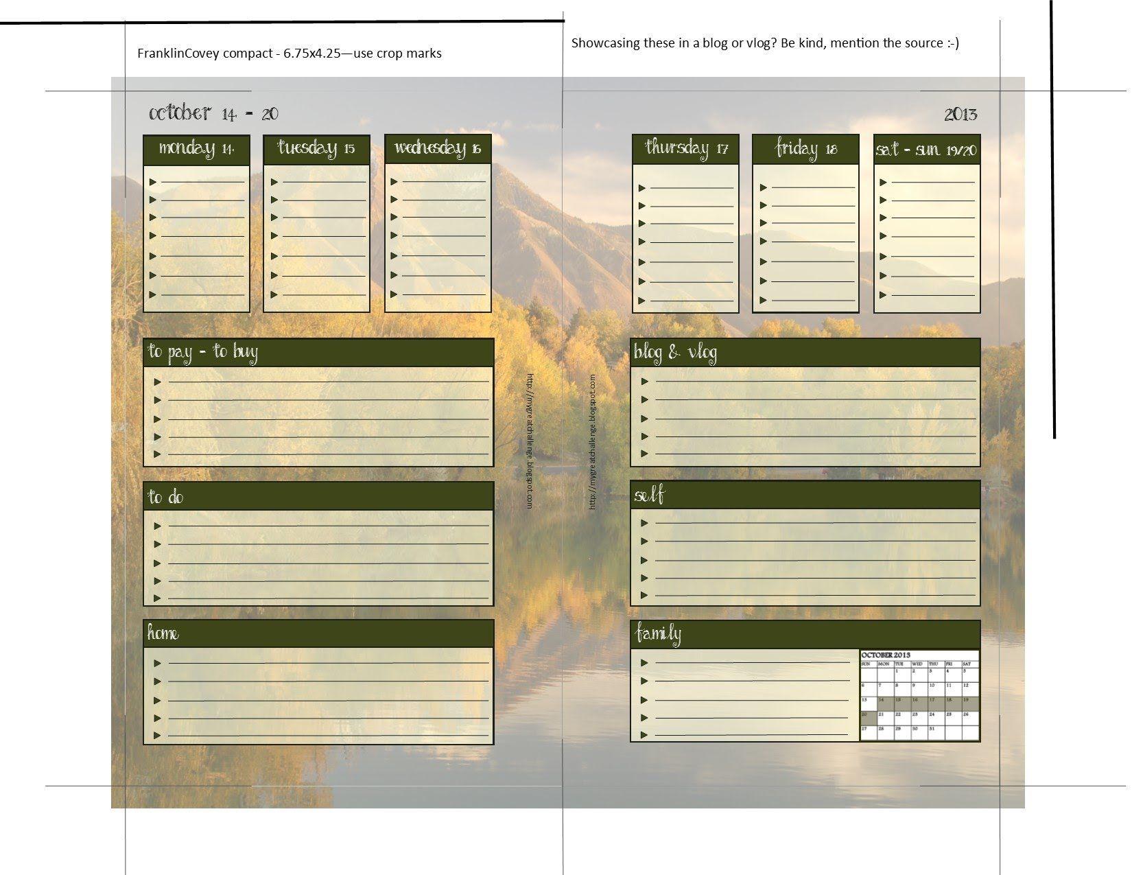 October Calendar Planner Inserts For Filofax