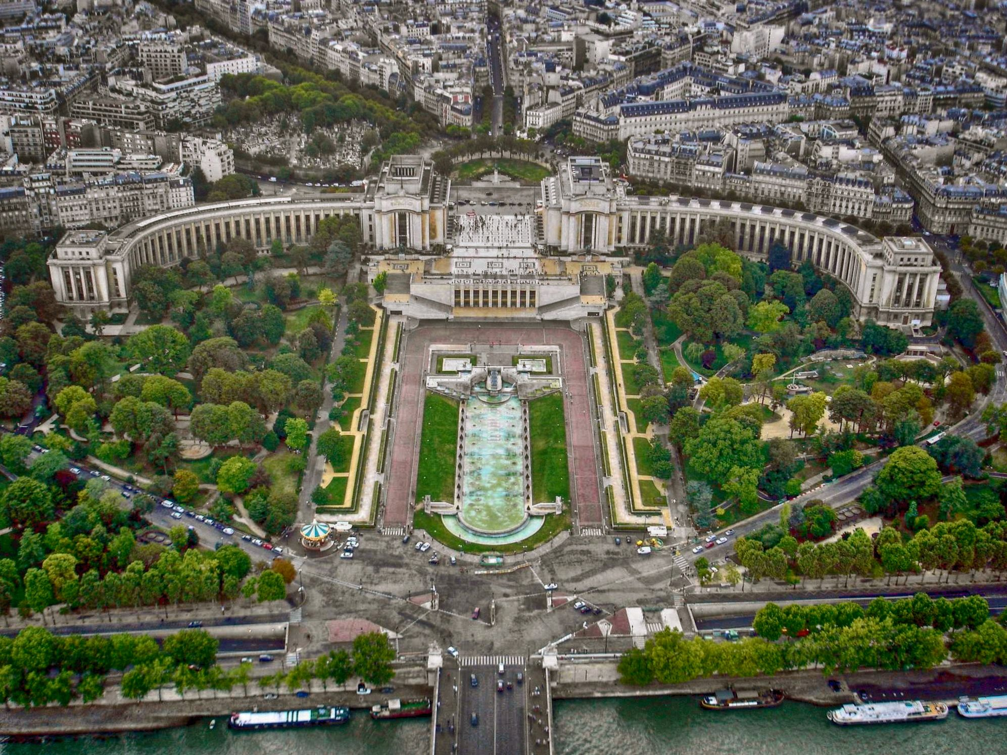The beautiful view of the Jardins du Trocadéro from the Eiffel