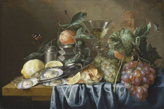 Still Life with Oysters and Grapes. Jan Davidsz de Heem. 1653. Currently housed at the Ahmanson Building.