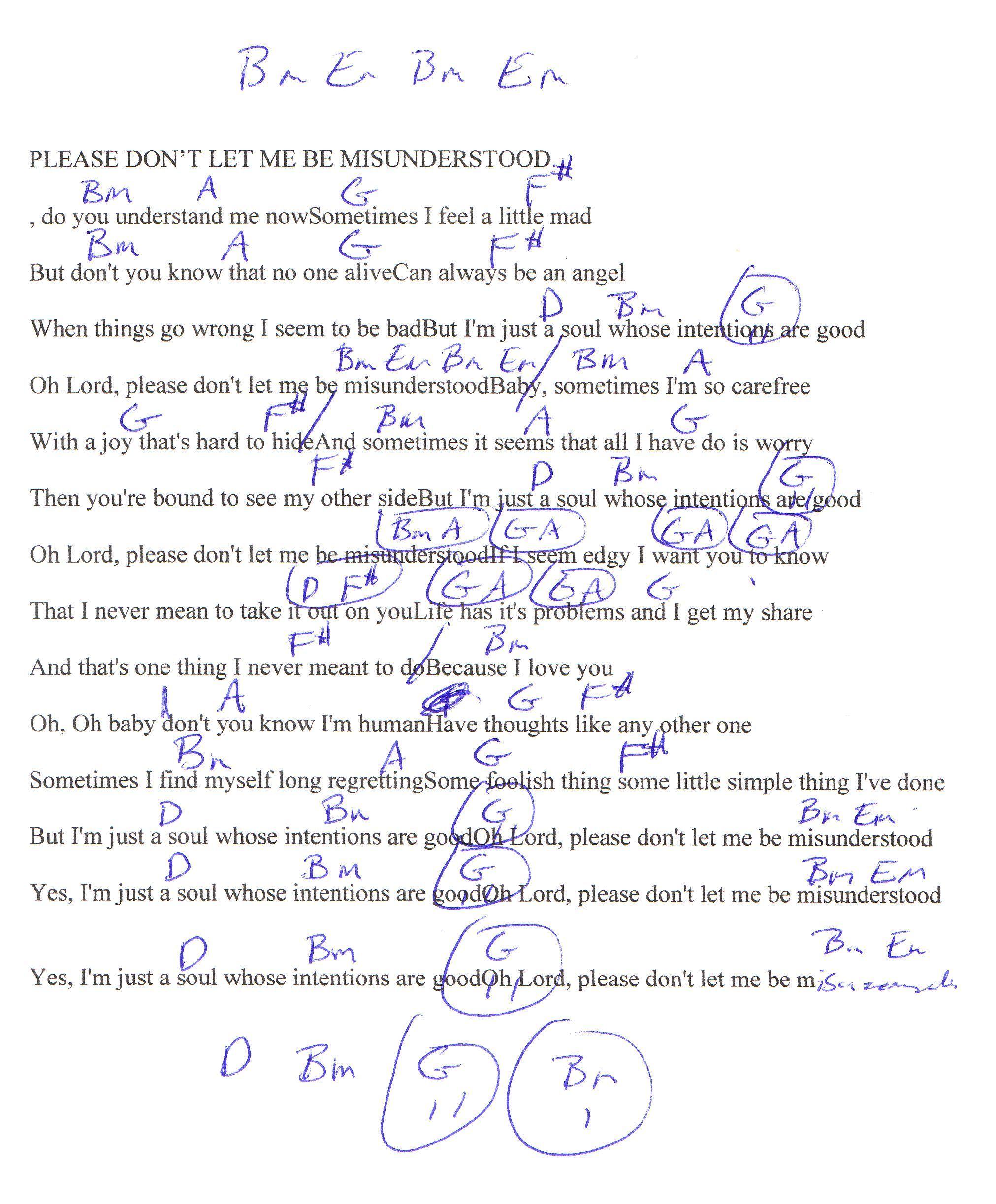Don't Let Me Be Misunderstood (The Animals) Guitar Chord