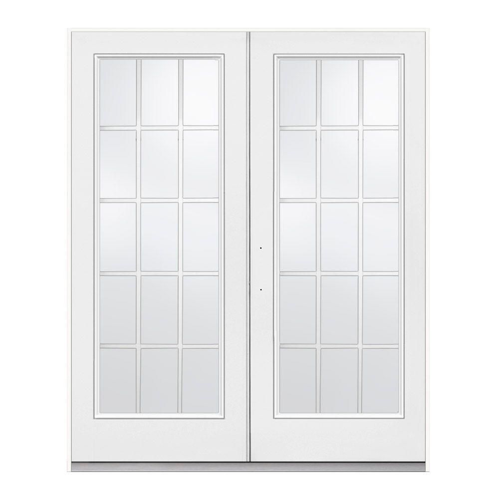 538 Hd Jeld Wen 72 In X 80 In Primed White Right Hand Inswing Low E Tempered 15 Lite Fibergl French Doors Patio Patio Doors Fiberglass Patio Doors