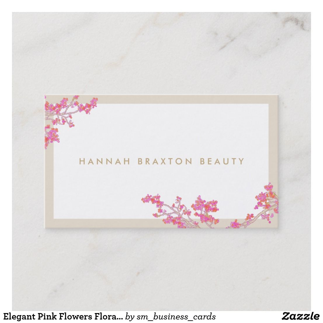 Elegant Pink Flowers Floral Art Beauty Salon Business Card