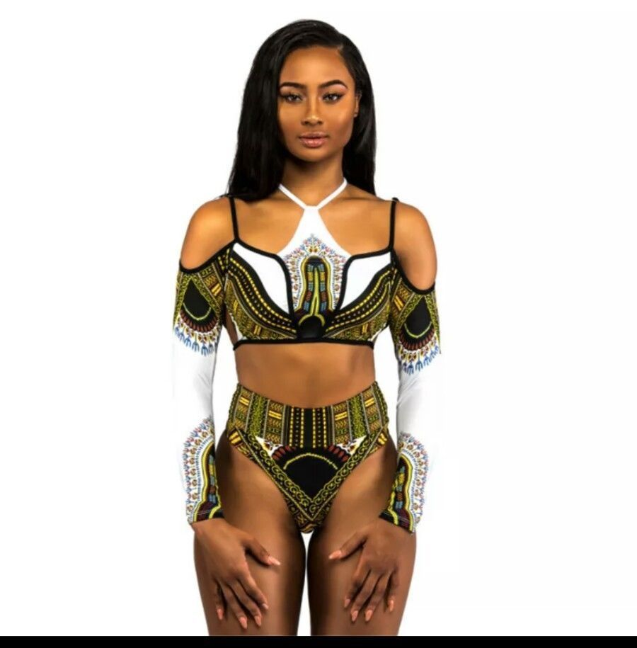 ea49d83d99 ... Two Piece Swimsuit - XXL. New Sexy Female warrior Cleopatral Black  Panther Bodysuit Swimwear Costume #African