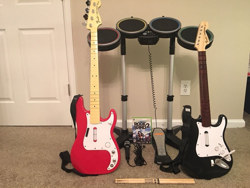 Rock Band 2 Xbox 360 Bundle Set - Drums, Guitar, Rare Fender