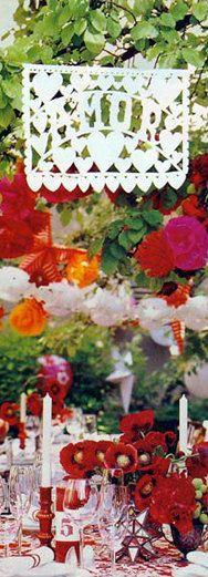 Wedding Banner (1) Amor design Papel Picado Fiesta Wedding Flags - Mexican Hand Cut Tissue Paper Flags. $25.00, via Etsy.