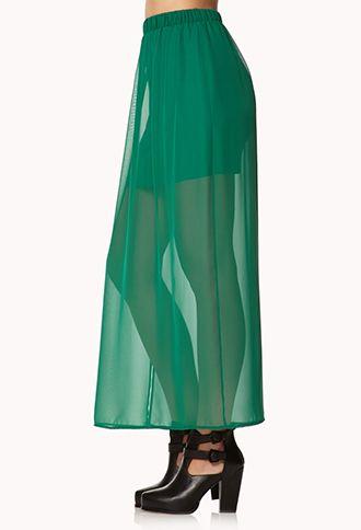 Side Slit Chiffon Maxi Skirt | FOREVER 21 - 2000074714
