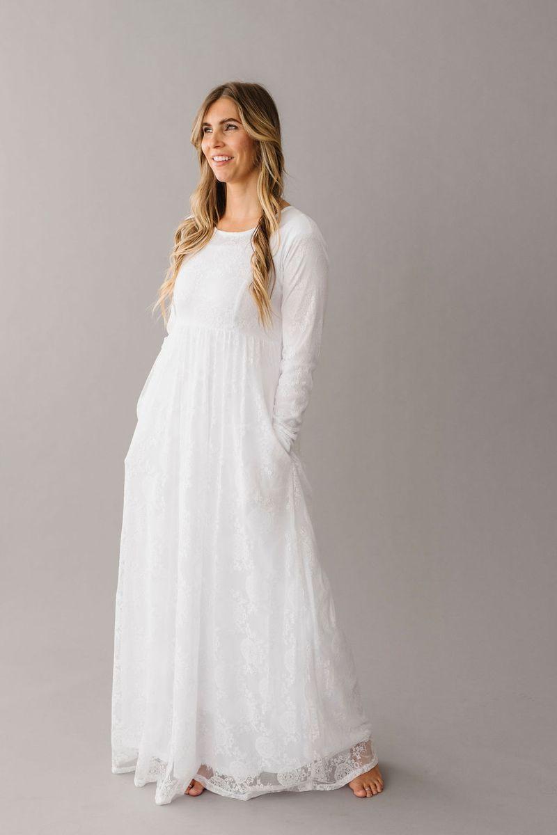 Elaine Temple Dress Lds Temple Dress Long Sleeve White Maxi Dress [ 1200 x 800 Pixel ]