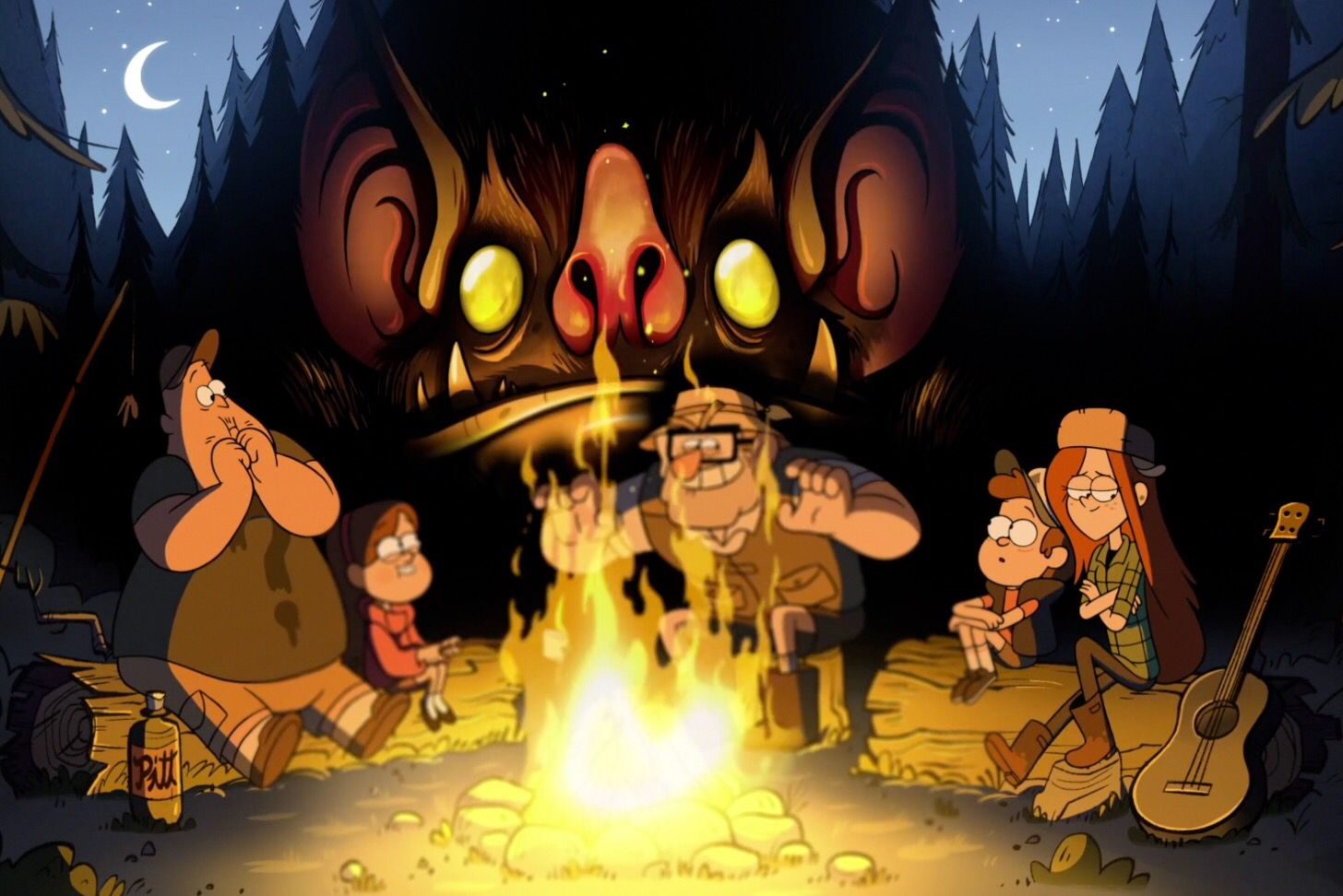 Campfire snapshot from the Gravity Falls theme song