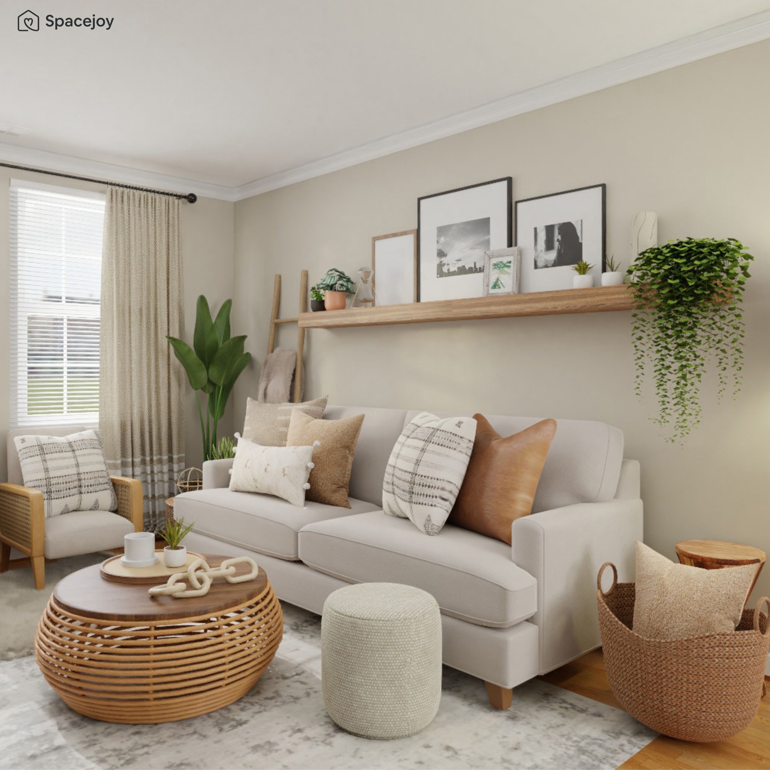 A serene living room design idea with a boho touch and natural elements.