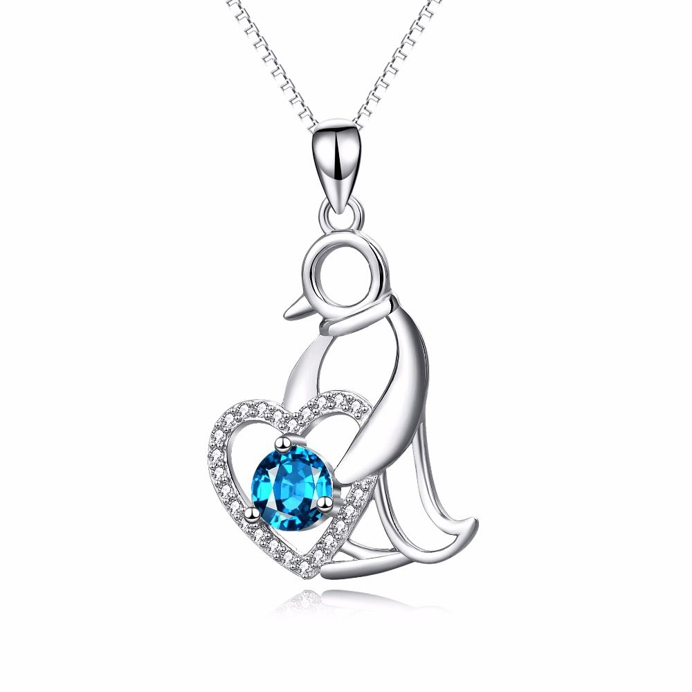 Click to buy ucuc yafeini sterling silver penguin love heart blue