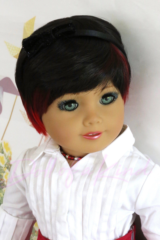Custom american girl doll wig ladybug fits 10512