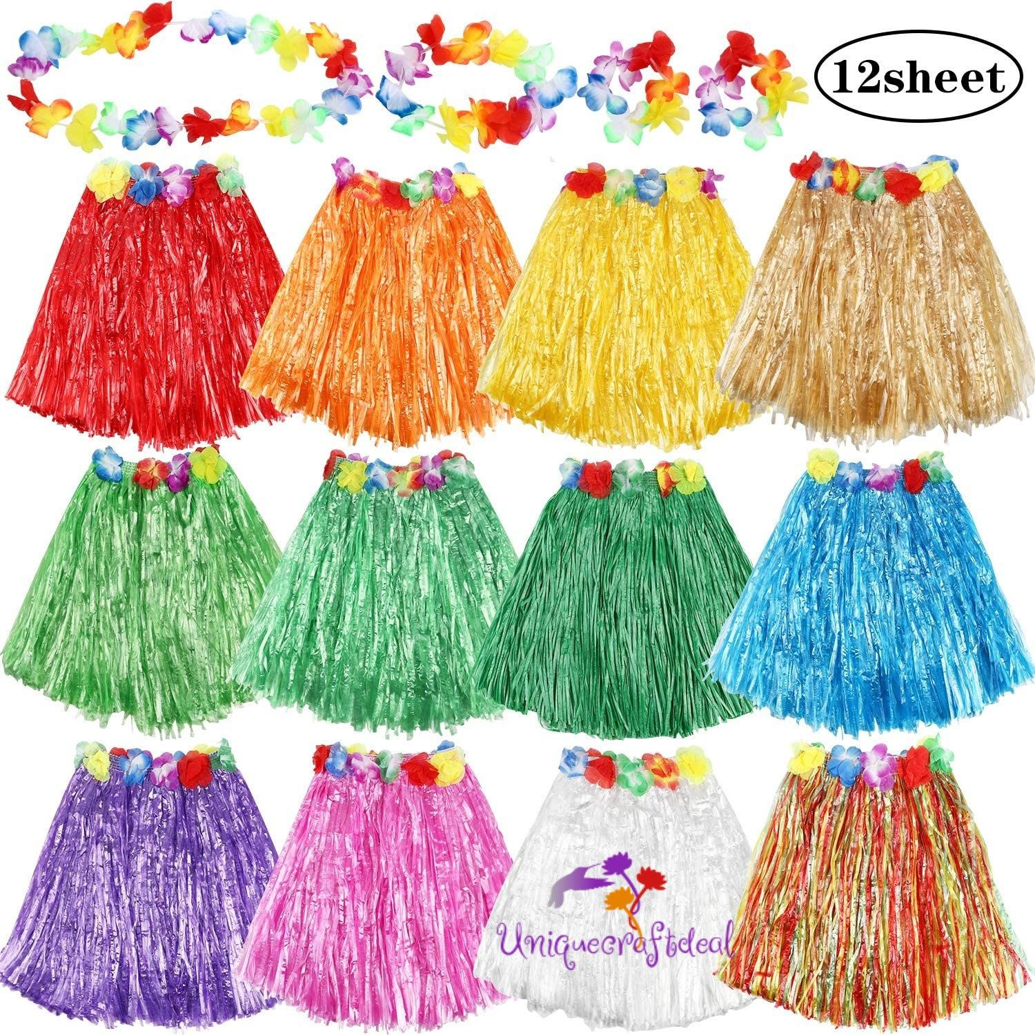 Excited To Share The Latest Addition To My Etsy Shop Pack Of 12 Assorted Colors Hula Grass Skirts With Flower Leis Cost In 2020 Luau Grass Skirt Hawaiian Grass Skirt