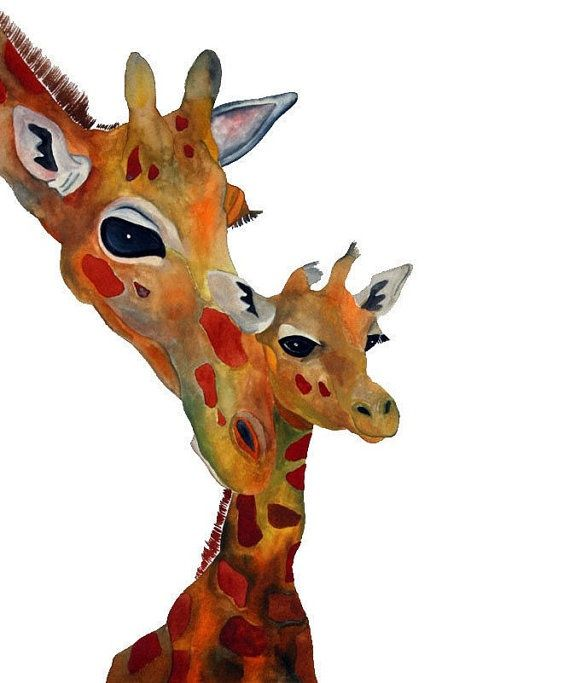 Giraffe Art  Lean on me  8x10 by HamjArt on Etsy, $20.00 - #to-decorate-a-home