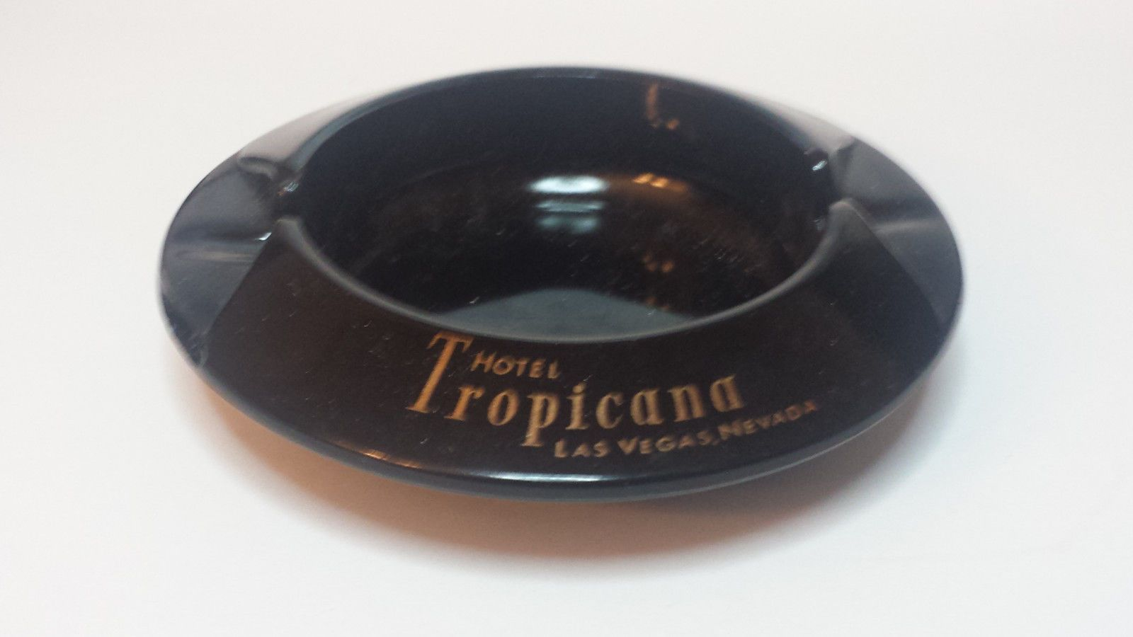 "#ashtray Hotel Tropicana Las Vegas Nevada black Ceramic 4.5"" in diamter RARE LasVegas visit our ebay store at  http://stores.ebay.com/esquirestore"