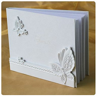 butterfly wedding guest book a tema in resina bianca - EUR € 12.37