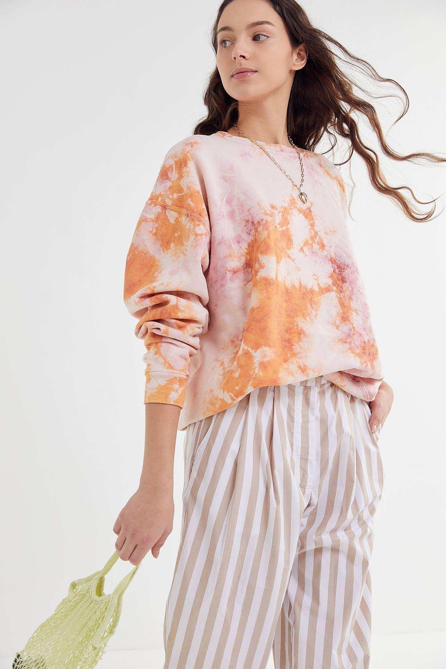 Urban Renewal Recycled Tie Dye Crew Neck Sweatshirt In 2021 Tie Dye Fashion Crewneck Sweatshirt Women Tie Dye Sweater [ 2175 x 1450 Pixel ]