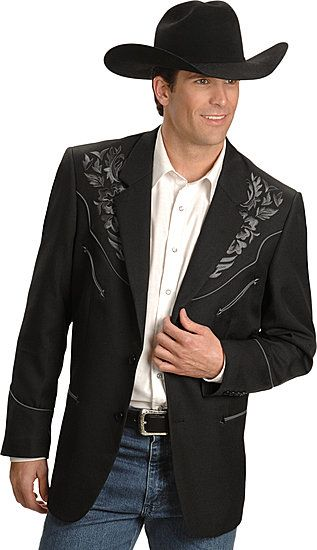 Scully Embroidered Sport Coat Black With Charcoal Men S Western Suit Coats Suit Pants Sport Coats Blazers Mens Western Suits Western Suits Mens Western Wear