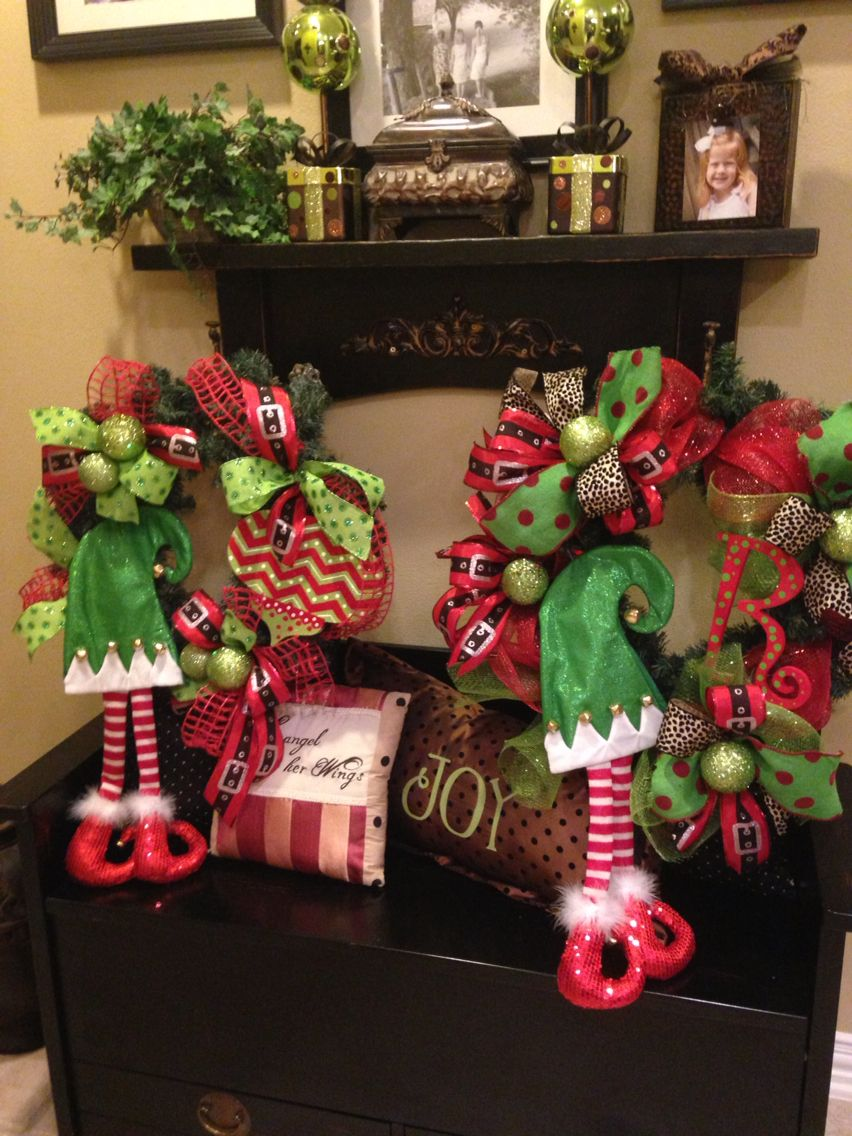 Wreaths I made for Teacher gifts. Christmas decorations