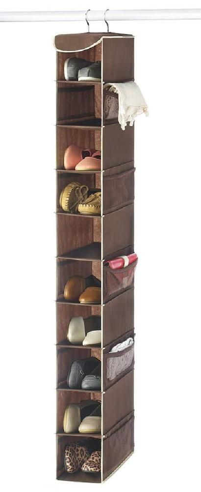Zober 10 Shelf Hanging Shoe Organizer Shoe Holder For Closet   10 Mesh  Pocket.