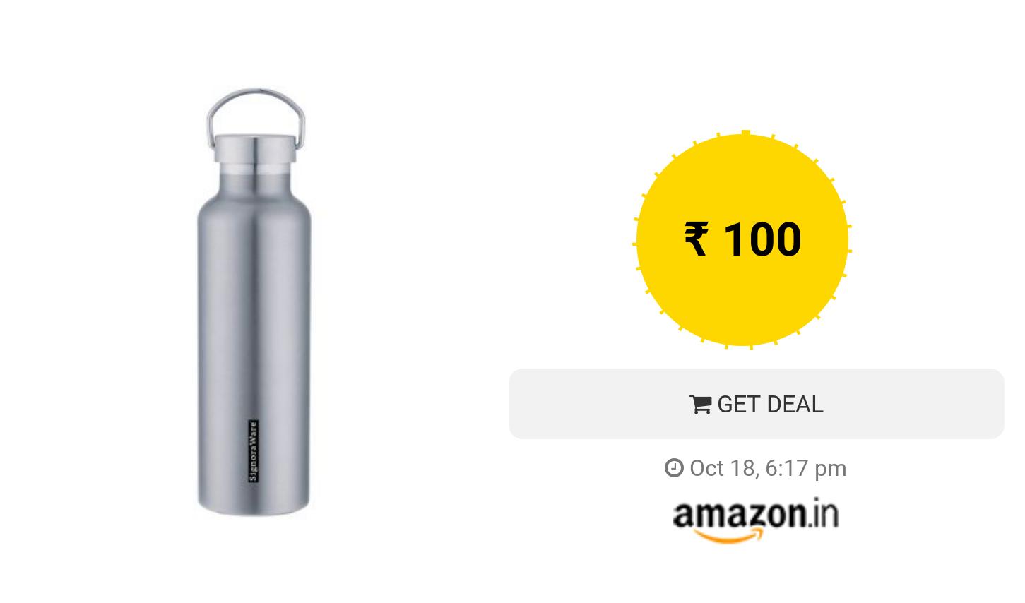Signoraware Marina Stainless Steel Vacuum Flask Bottle 1 Liter Silver Flask Bottle Bottle Vacuum Flask