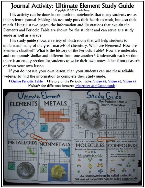 Science journal ultimate element study guide periodic table a great science journal activity that will provide some work for the students hands and urtaz Gallery