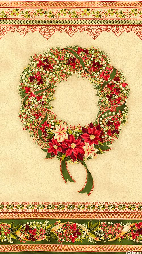 "Holiday Flourish 8 - Wreath - Deep Rose/Gold - 24"" x 44"" PANEL"