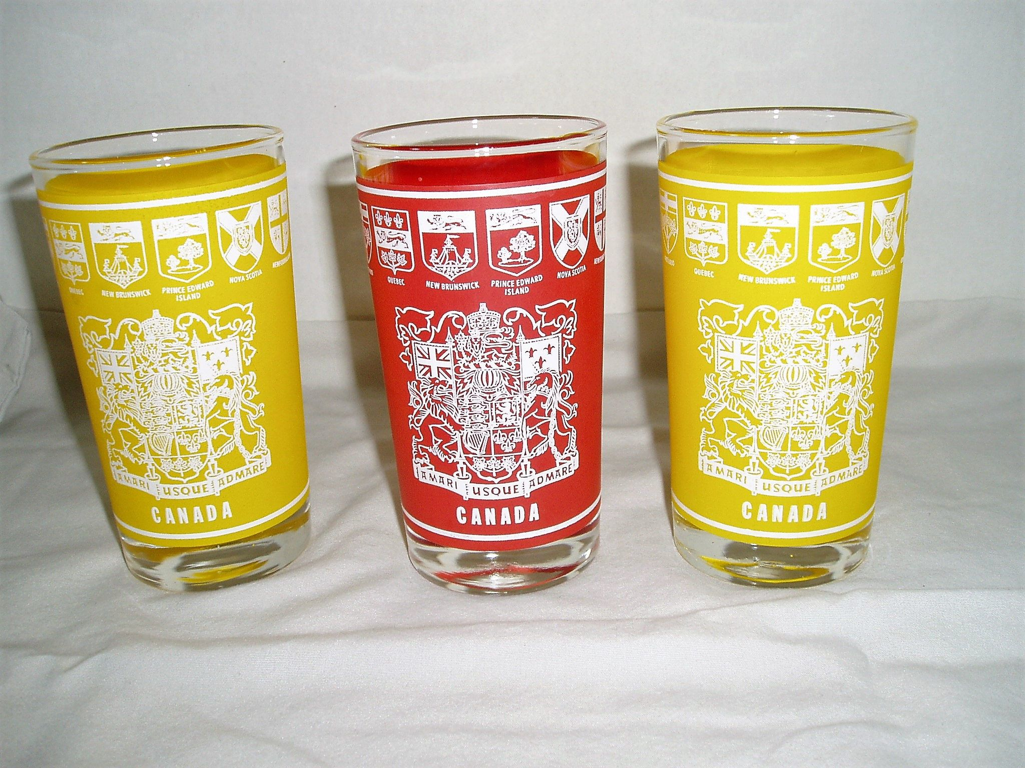 Vintage Glasses , Canada Glasses , Frosted Barware , Vintage Barware , Set  Of Three , Yellow And Red , Centennial Glass , Drinking Glasses