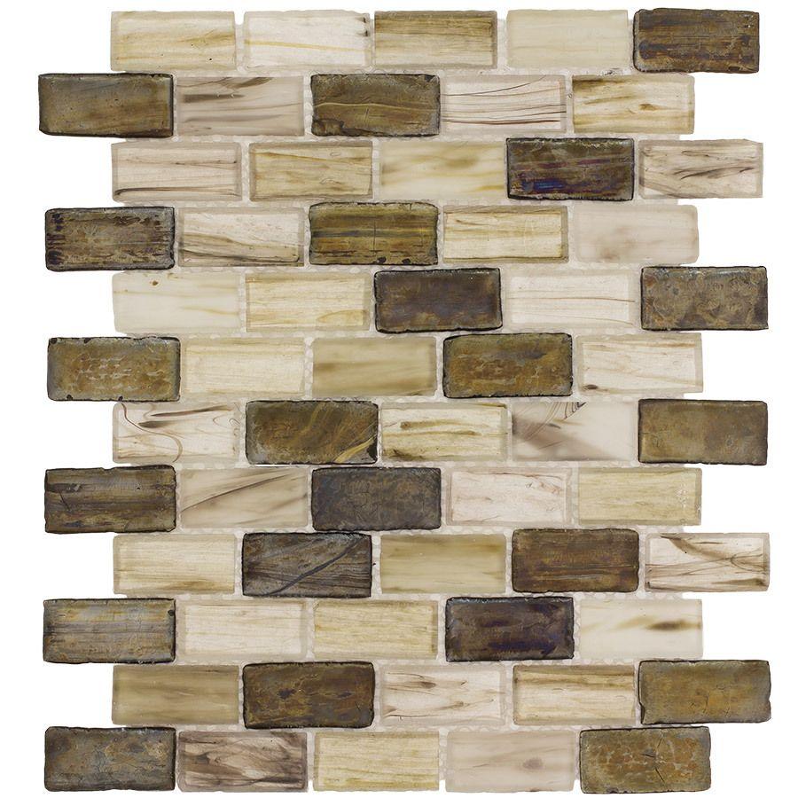 - Glass Subway Tile Backsplash Aged Gold Mineral Tiles Glass