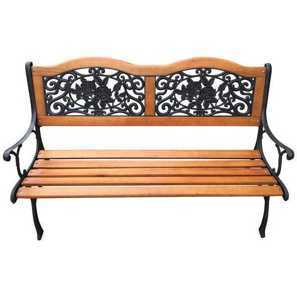 Rose Design Wood Slat Park Bench Big Lots Liked On Polyvore