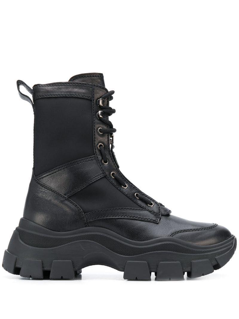 Prada Chunky Sole Combat Boots In Black