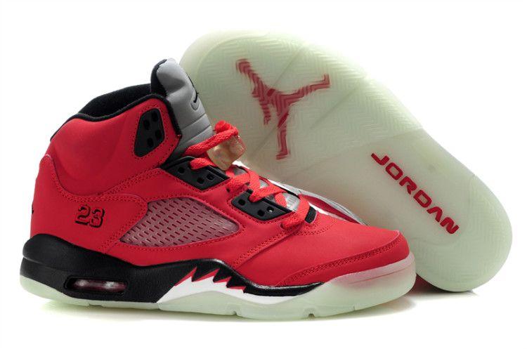 Buy Air Jordan 5 Glow In The Dark Varsity Red/Black Basketball Shoes Store
