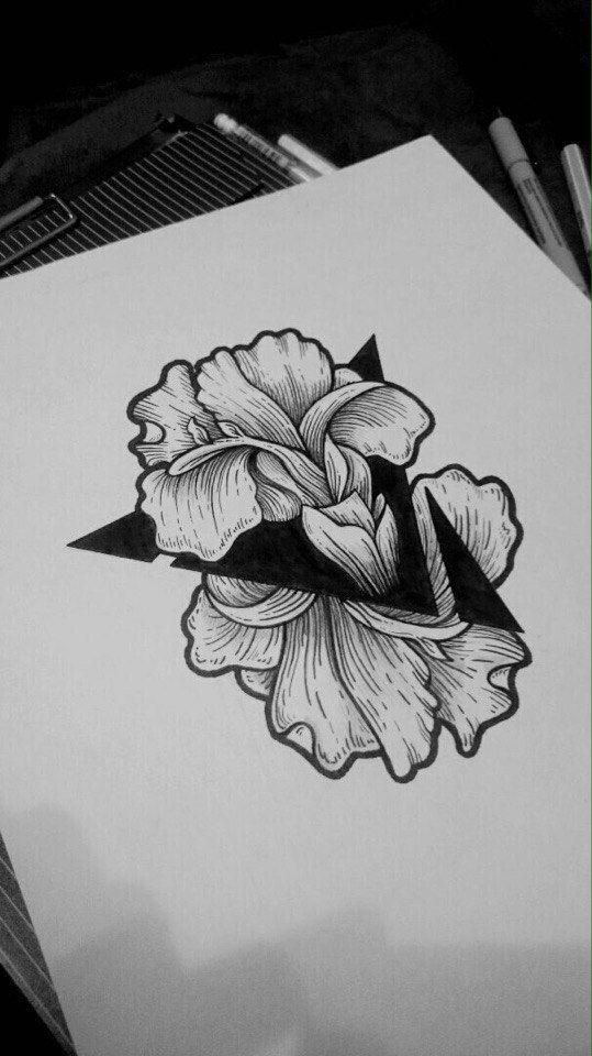 Цветок Графика Чернобелое Эскизы татуировок